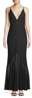 Fame & Partners Deep V-Neck Chiffon Gown