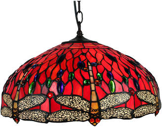 Tiffany & Co. Emporium Stained Glass Red Dragonfly Pendant Lamp