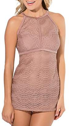 Smart & Sexy Smart+Sexy Women's Hi-Neck Crochet Tankini with Added Length