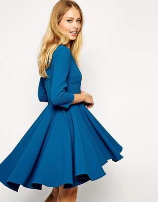 Asos Design Skater Dress with Full Dipped Hem Skirt and 3/4 Sleeve