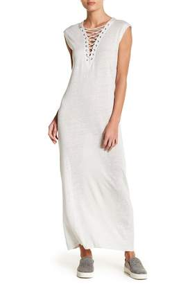 IRO Daisy Lace-Up Linen Maxi Dress