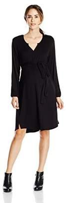 Everly Grey Women's Maternity Lexi Long Sleeve Slit Neck Dress with Tie Sash