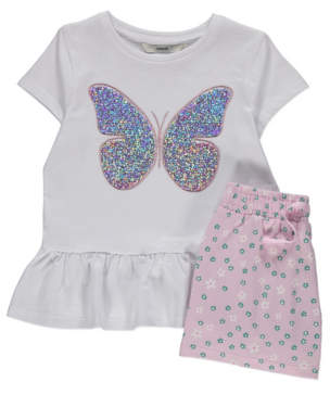 George White Sequin Butterfly Top and Shorts Outfit