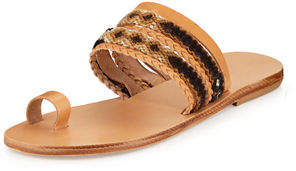 Neiman Marcus Elina Lebessi Daphne Woven Toe-Ring Flat Slide Sandal