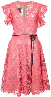 Monique Lhuillier belted lace dress