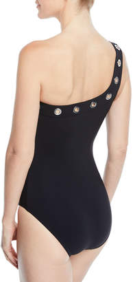 d10fff55c0 Karla Colletto Viviana Grommet-Trim One-Shoulder Swimsuit with Shelf Bra