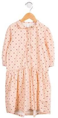 Marie Chantal Girls' Floral Print Long Sleeve Dress