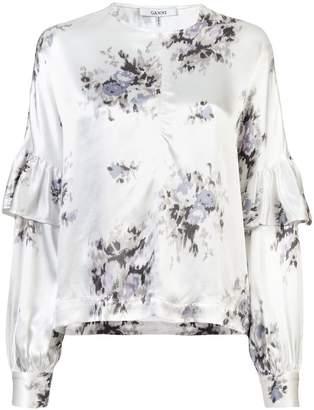 Ganni floral print ruffle blouse
