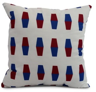 Simply Daisy, 18 x 18 inch, Bowling Pins, Geometric Print Pillow, Red