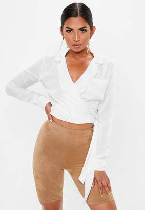 Missguided White Pyjama Collared Flute Sleeve Knot Blouse