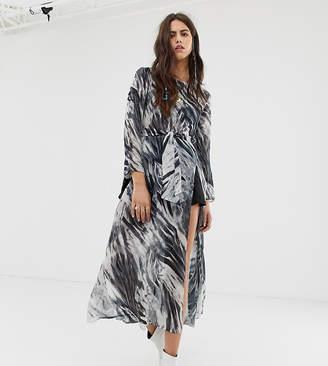 N. Ebonie Ivory ebonie ivory long sleeved mesh dress with thigh splits in marble