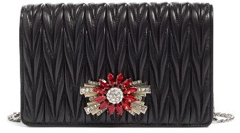 Miu Miu Women's Miu Miu Delice Matelasse Leather Wallet On A Chain - Metallic