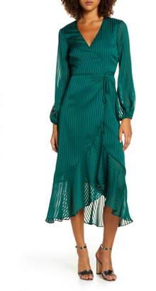Bardot Mirela Long Sleeve Midi Wrap Dress