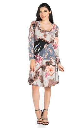 24/7 Comfort Apparel 24seven Comfort Apparel Floral Gardens Long Sleeve Knee Length Dress