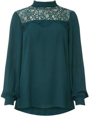 Dorothy Perkins Womens **Tall Green Lace Bow Top