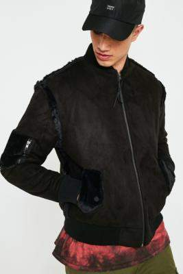 The New County Black Faux Suede Bomber Jacket