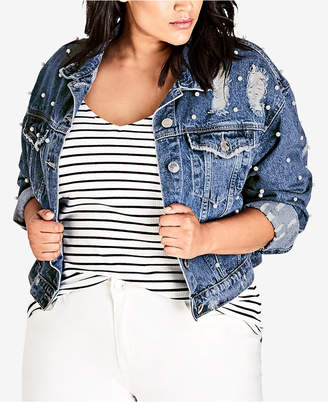City Chic Trendy Plus Size Pearl-Embellished Distressed Denim Jacket