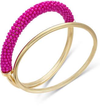 INC International Concepts Trina Turk x I.N.C. Gold-Tone 2-Pc. Set Classic & Beaded Bangle Bracelets, Created for Macy's