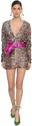 ATTICO Long Sleeve Sequined Mini Dress