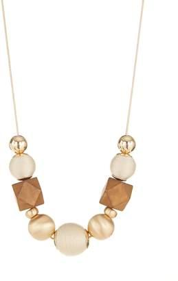 Etereo Neutrals Goldtone Wood Statement Necklace