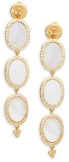 Freida Rothman Triple Oval Mother-Of-Pearl, Crystal & Sterling Silver Drop Earrings
