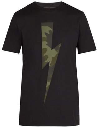 Neil Barrett Lightning Bolt Print Cotton T Shirt - Mens - Black