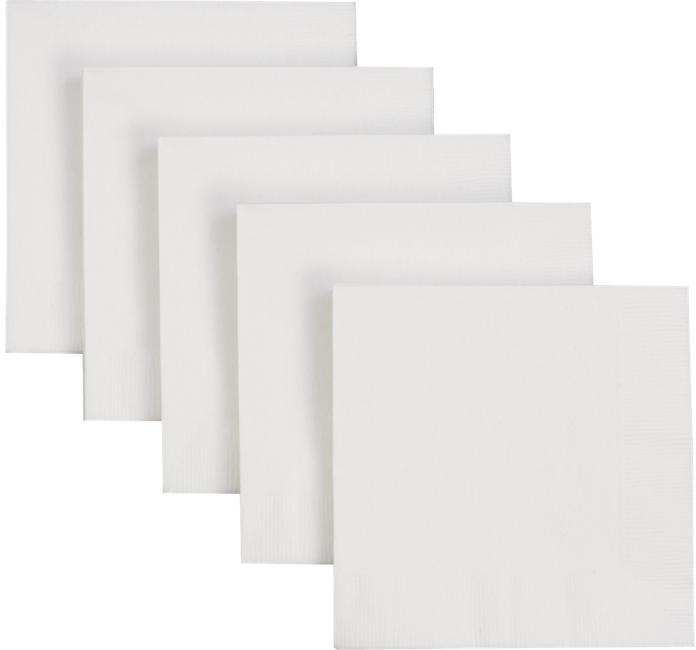 Set of 50 White Cocktail Napkins
