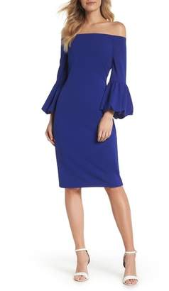Eliza J Off the Shoulder Bell Sleeve Scuba Crepe Dress