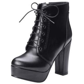 1086d5746ca0 Vitalo Womens Lace Up Chunky High Heel Ankle Boots Platform Zip Up Warm  Winter Shoes Size