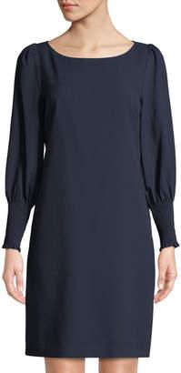 Karl Lagerfeld Paris Smocked-Cuff Crepe Sheath Dress