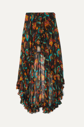 Caroline Constas Adelle Asymmetric Floral-print Silk-chiffon Maxi Skirt - Black