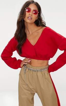PrettyLittleThing Charcoal Crop Off Shoulder Sweater