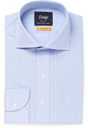 Drakes Drake's - Light-Blue Cutaway-Collar Striped Cotton Shirt - Light blue