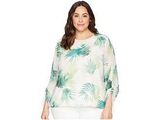Vince Camuto Specialty Size Plus Size Drawstring Sleeve Sunlit Palm Print Blouse Women's Blouse