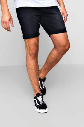 boohoo Slim Fit Denim Short in Washed Black