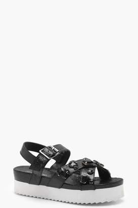 boohoo Embellished Cross Strap Flatform Sandals