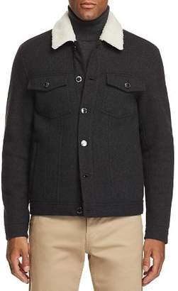 Michael Kors Faux Shearling-Lined Tweed Trucker Jacket