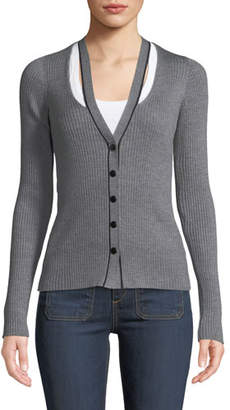 Alexander Wang Skinny Ribbed Layered Fitted Cardigan
