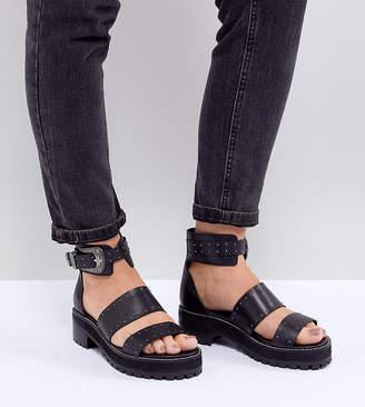 Asos DESIGN Foxglove Wide Fit Premium Leather Gladiator Flat Sandals