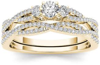 MODERN BRIDE 1/2 CT. T.W. Diamond 14K Yellow Gold Crossover Bridal Ring Set