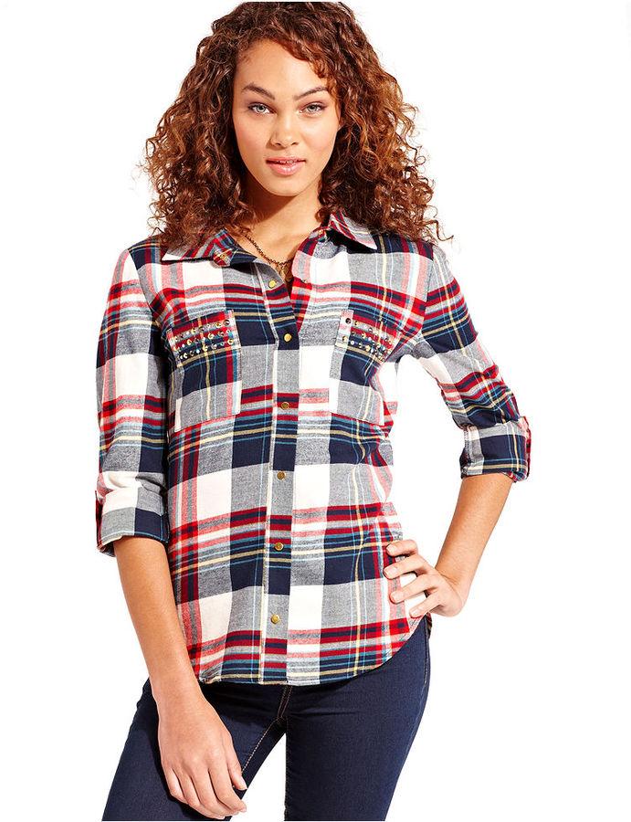 Pretty Rebellious Juniors Top, Long Sleeve Plaid-Print Studded Shirt
