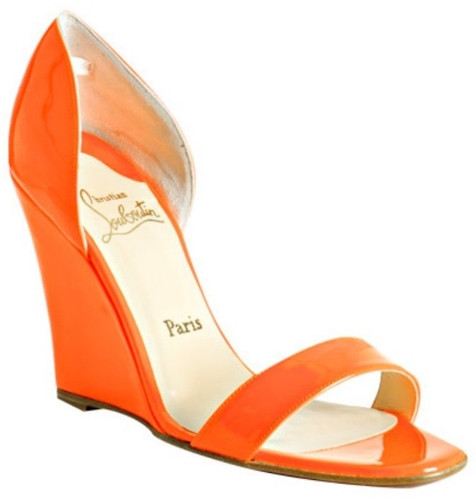 Christian Louboutin florescent orange patent 'Pass Mule' wedges