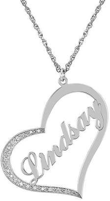 JCPenney FINE JEWELRY Personalized Diamond-Accent Sterling Silver Name Pendant Necklace