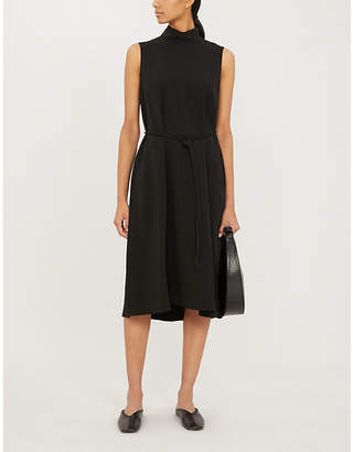 Theory High-neck belted crepe midi dress