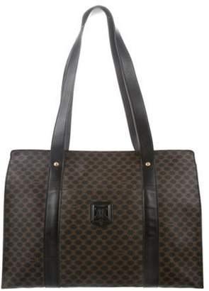 Celine Monogrammed Leather-Trimmed Bag Black Monogrammed Leather-Trimmed Bag