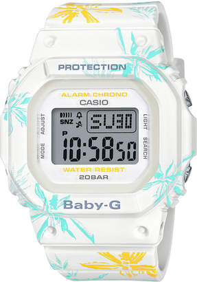 Baby-G Women's Digital White Floral Resin Strap Watch 40mm