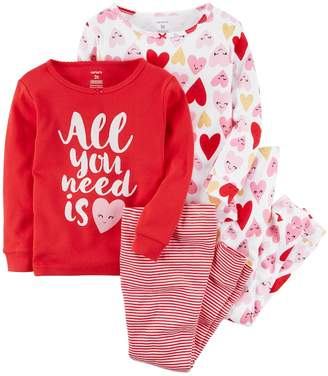 """Carter's Girls 4-12 All You Need is Heart"""" Tops & Bottoms Pajama Set"""