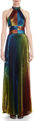 Rosie Assoulin Rainbow Pleated Lame Halter Neck Gown
