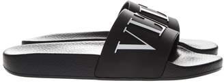 Valentino Black Vltn Rubber Slide Sandal