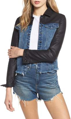 Blank NYC BLANKNYC Faux Leather & Denim Jacket